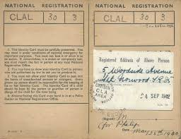 A typical buff coloured Identity Card from the early years of WW2 in England