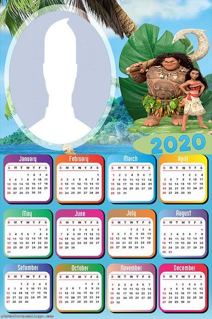 Moana: Calendario 2020 para Imprimir Gratis.