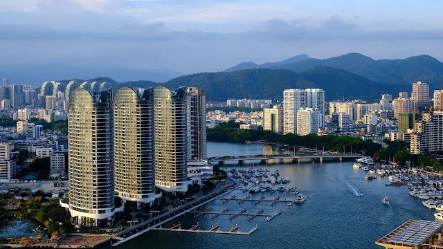 Aerial view, City, Buildings, Skyscrapers, River