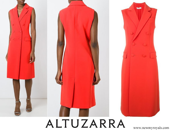 Crown Princess Mette-Marit wore ALTUZARRA double breasted sleeveless coat