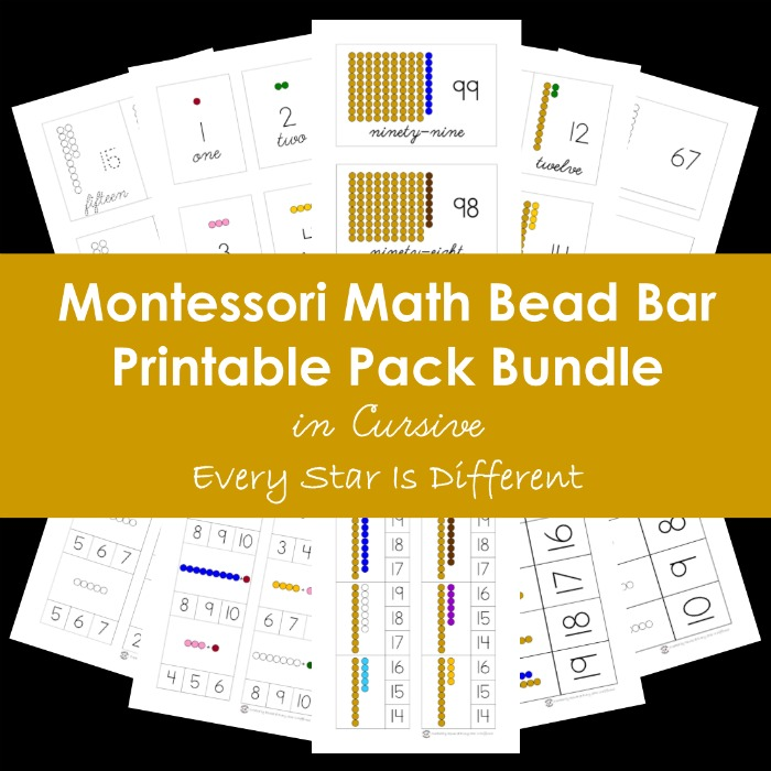 Montessori Math Bead Bar Printable Pack in Cursive