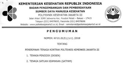 Penerimaan Tenaga Kontrak Poltekkes Kemenkes Jakarta III