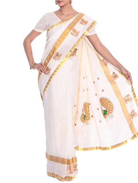 Beige Cotton Kasavu Saree With Blouse