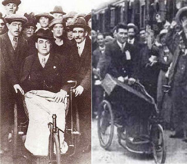 John Traynor ainda debilitado sobe no trem em Lourdes e desce em Liverpool levando sua antiga cadeira de rodas