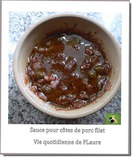 Vie quotidienne de FLaure : Côtes de porc, filet, badigeonnées d'une sauce relevée