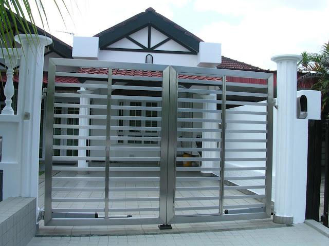 cổng inox 4 cánh đẹp - mẫu 5