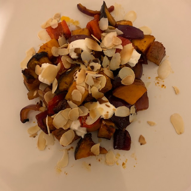 Mediterranean Vegetables with goat's cheese and almonds