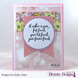 Stamp Set: Daughters Best Friend, Paper Collection: Spring Flowers 2019, Custom Dies: Double Stitched Rectangles, Large Banner, Circles, Fancy Circles