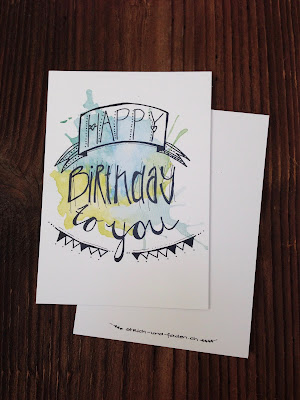 mit Strich und Faden: Happy Birthday Postkarte