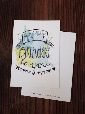 mit Strich und Faden: Happy Birthday Postkarte