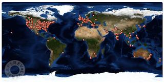 Map of J's visitors 2021 #atozchallenge