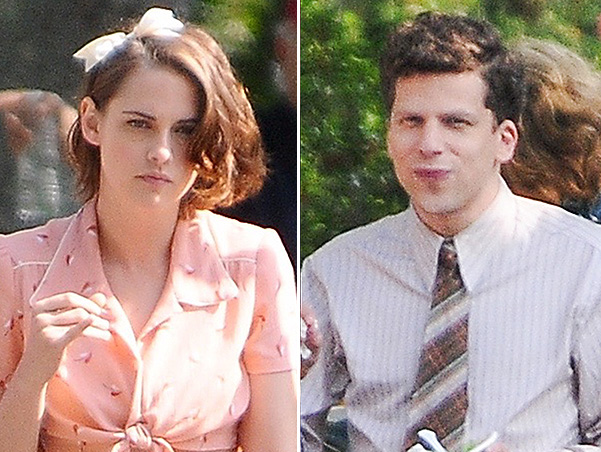 Kristen Stewart and Jesse Eisenberg on the set of Woody Allen's new movie