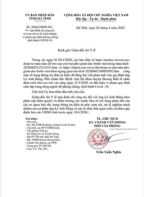 Ông Lê Anh Hùng phó GĐ BV Đa khoa huyện Hương Khê sẽ bị xử lý hình sự?
