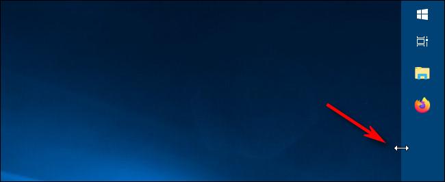 استخدام مؤشر تغيير الحجم لتغيير عرض شريط المهام في Windows 10