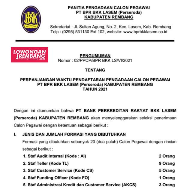 Perpanjangan Waktu Pengadaan Calon Pegawai PT BPR BKK Lasem Rembang Tahun 2021