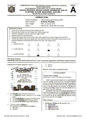 Soal UCUN / Uji Coba UN SMP Tahun 2016 Tahap 1
