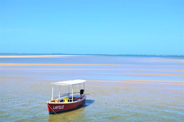 barco vermelho a remo no mar