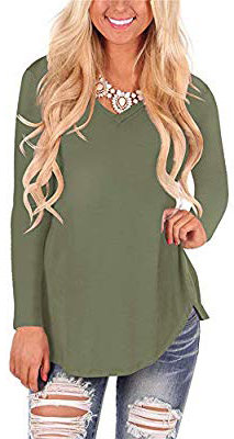 WFTBDREAM Womens Casual Curved Hem Long Sleeve T Shirt V Neck Side Slit Blouse - army Green-long Sleeve