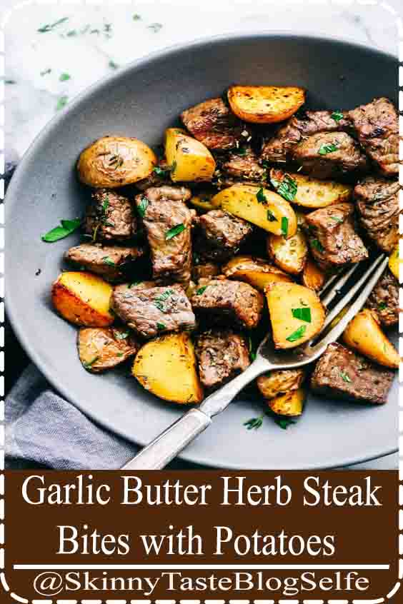 4.9 | ★★★★★ Garlic Butter Herb Steak Bites with Potatoes are such a simple meal that is full of tender garlic herb melt in your mouth steak with potatoes.  This is a meal that the entire family will love! #GarlicButter #Steak #Bites #Potatoes