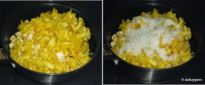 fruits added in a kadai, sugar poured on it