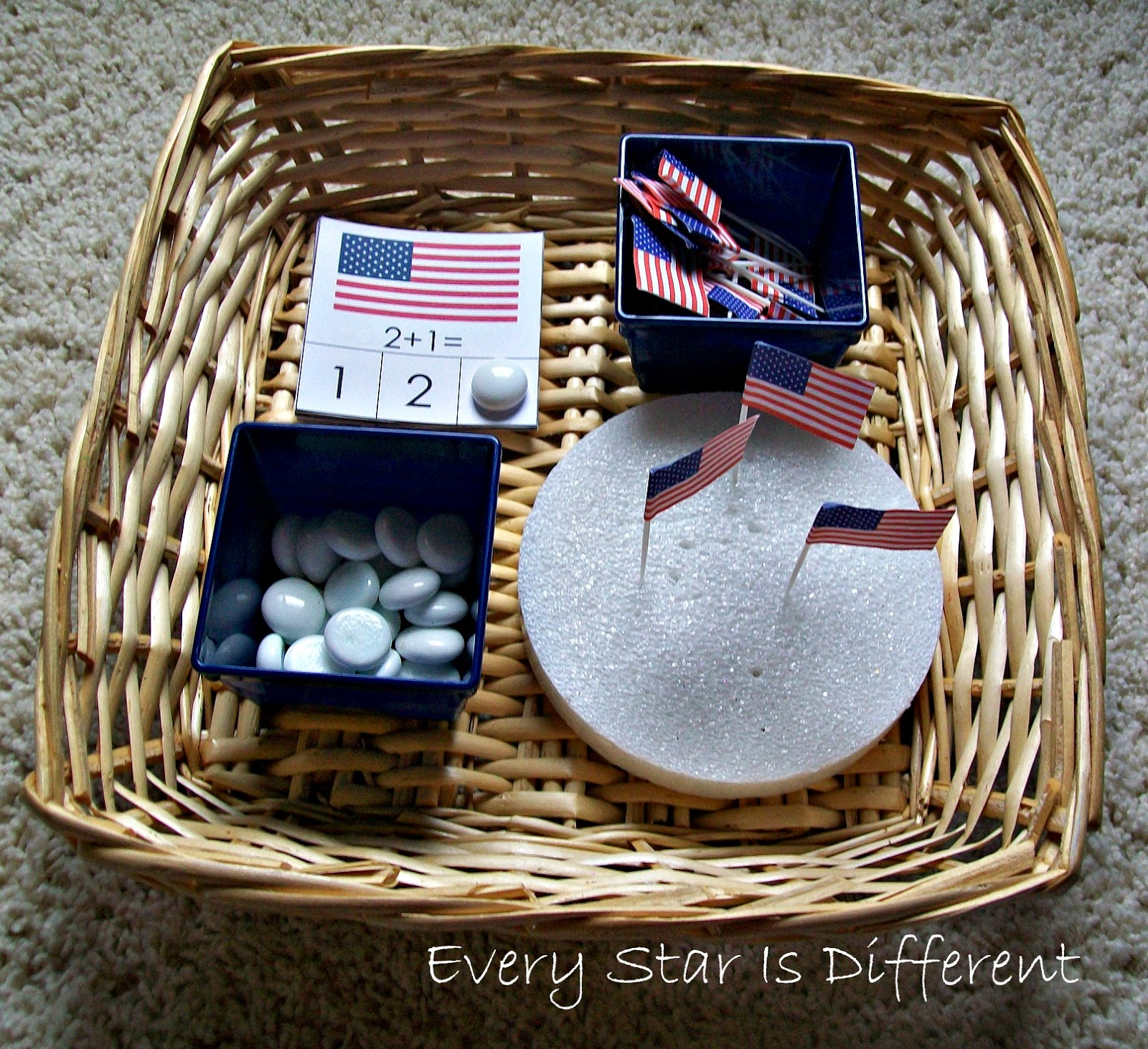 American Flag Addition Clip Cards (Free Printable)