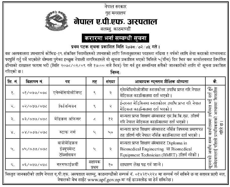 Nepal APF Hospital, Balambu Kathmandu Job Vacancy for Various Health Services