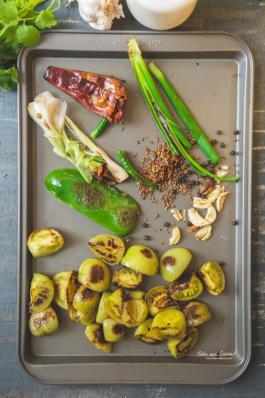 ingredients for roasted green tomato salsa