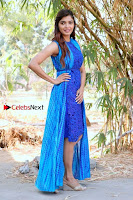Tamil Actress Sanchita Shetty Latest Pos in Blue Dress at Yenda Thalaiyila Yenna Vekkala Audio Launch  0026.jpg