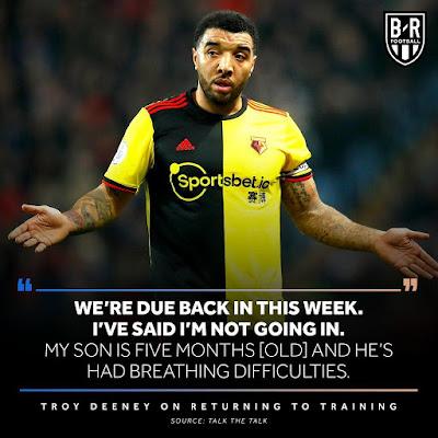 troy deeney won't play football during coronavirus