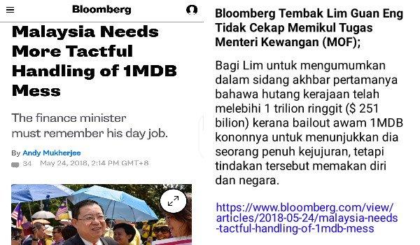 Bloomberg tembak Lim Guan Eng tidak cekap memikul tugas Menteri Kewangan