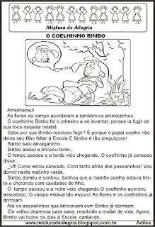Leitura o coelhinho Bimbo, alfabetização