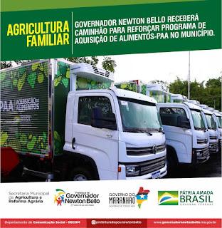 Governador Newton Bello receberá caminhão para reforçar Programa de Aquisição de Alimentos-PAA no município.