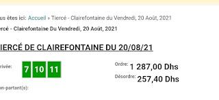 Arrivée DE AGENU 20/08/2021 Tiercé et Quinté