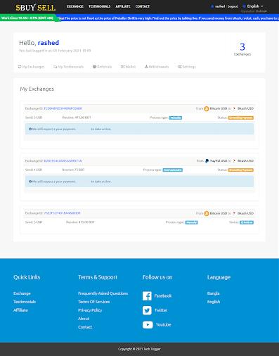 User Dashboard – Dollar buy sell PHP script
