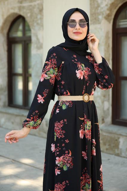 Patterned Black Dress