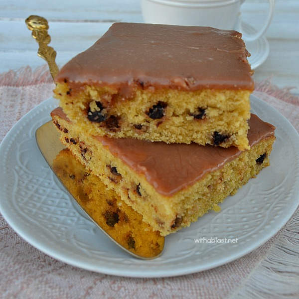 Sheet pan cake recipe ! Quick, easy and delicious ~ These Espresso and Chocolate Chip Slices are delicious, especially with a cup of freshly brewed coffee - teatime, dessert or with your morning cup of coffee