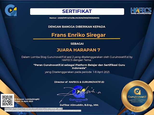 E-certificate Lomba Blog Guruinovatif.id