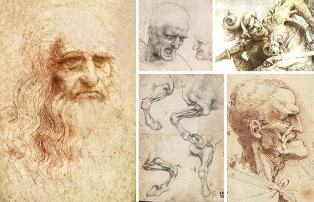Da Vinci e esboços do afresco