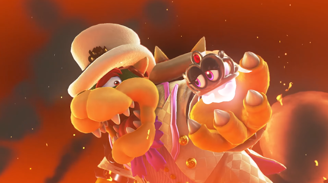 Super Mario Odyssey Wedding Bowser holding Tiara captured kidnapped hand
