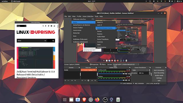 OBS Studio 27 browser docks linux