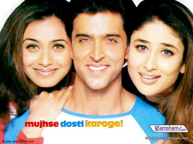 Hrithik Roshan, Rani Mukerji dan Kareena Kapoor. dalam film Mujhse Dosti Karoge