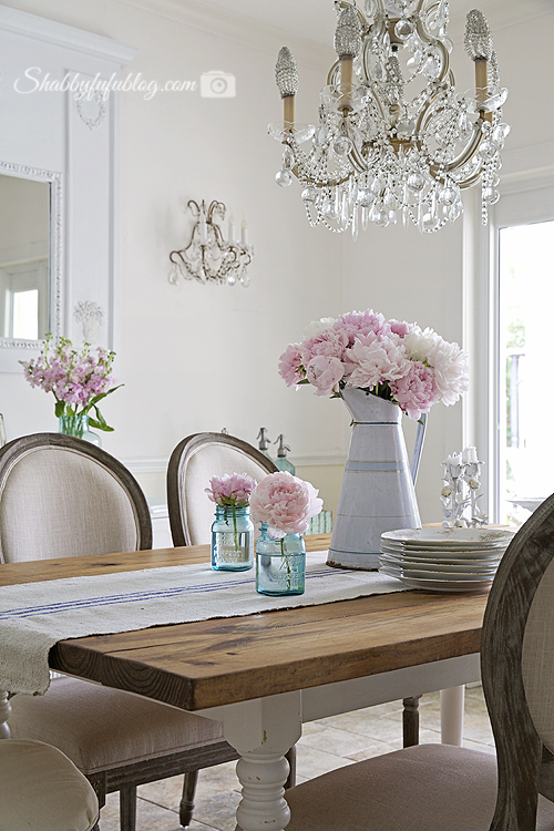 french table setting enamelware and peonies