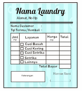 Contoh Nota Laundry Background