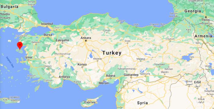 Midilli Adası Türkiye Haritası
