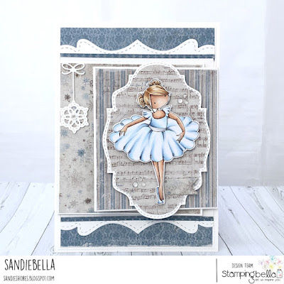 www.stampingbella.com: rubber stamp used: TINY TOWNIE NATALIE THE NUTCRACKER card by Sandie Dunne