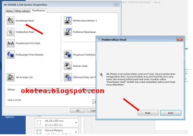cara head cleaning / membersihkan head printer EPSON L2210, L220