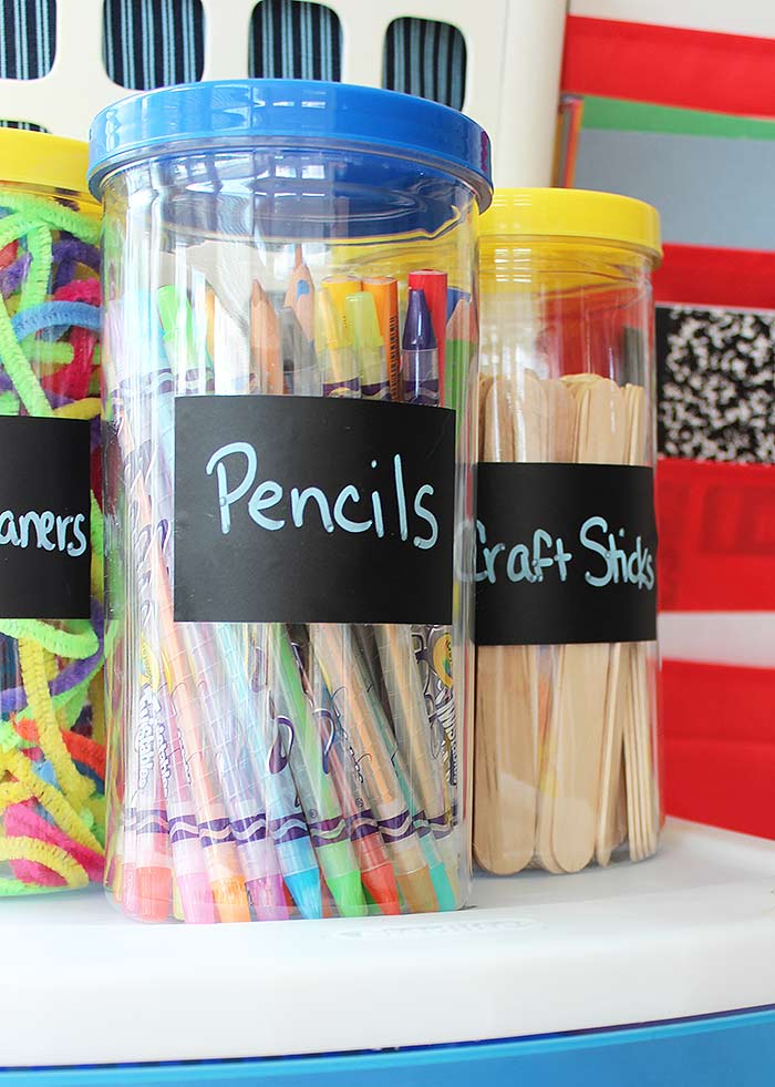 I Used 3 More Storage Canisters For The Top Of Drawer Unit One Pencils Craft Sticks And Pipe Cleaners Labeled Each