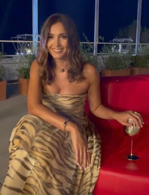 Caterina Balivo vestito elegante tigrato mostra del cinema di Venezia 3 settembre