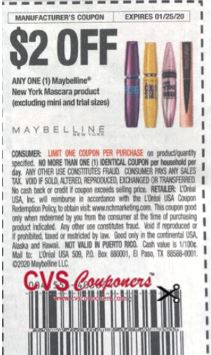 """Maybelline New York Mascara product Coupon from """"RetailMeNot"""" insert week of 1/5/20."""