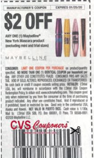 "Maybelline New York Mascara product Coupon from ""RetailMeNot"" insert week of 1/5/20."